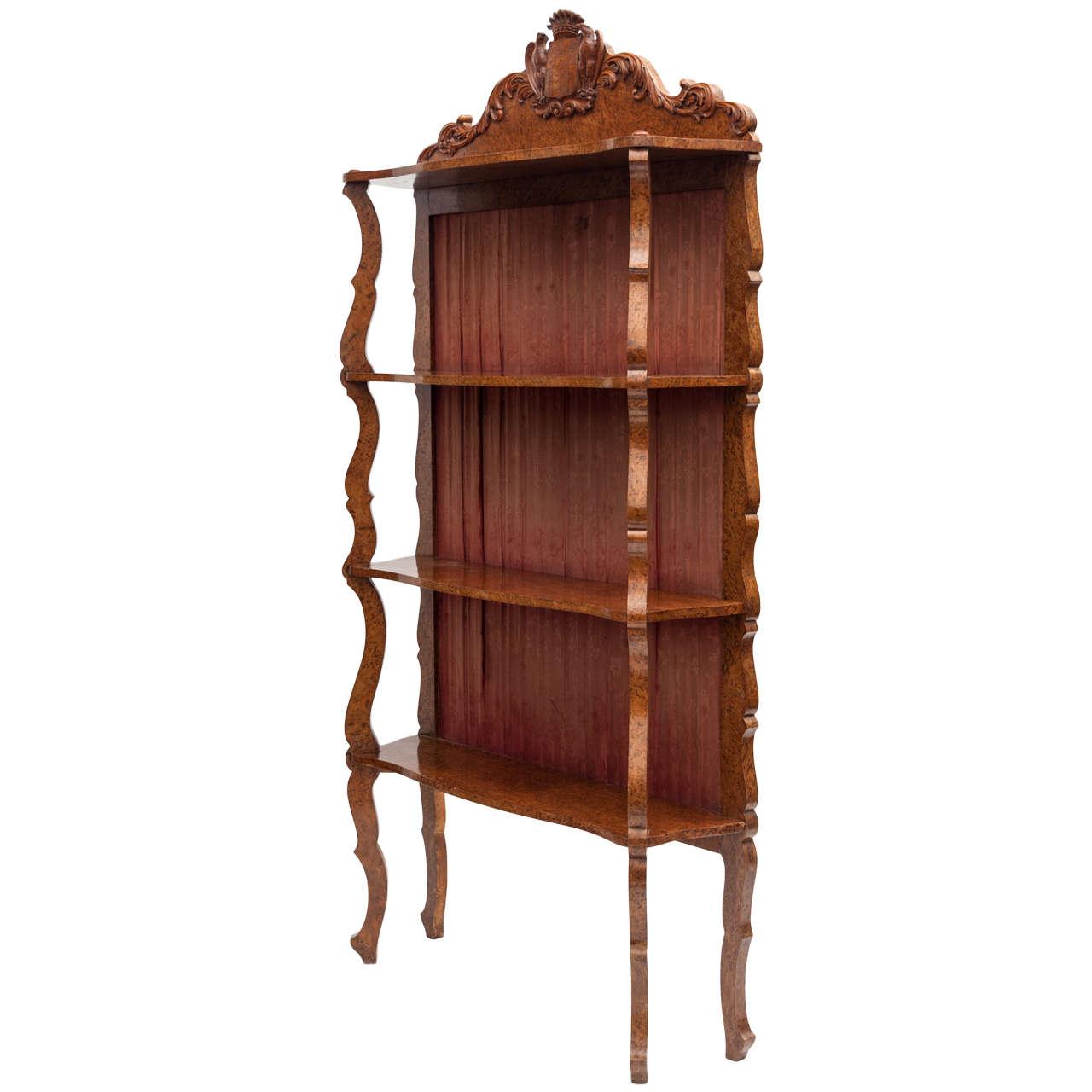 Mid C19th Amboyna Etagere / Standing Shelves