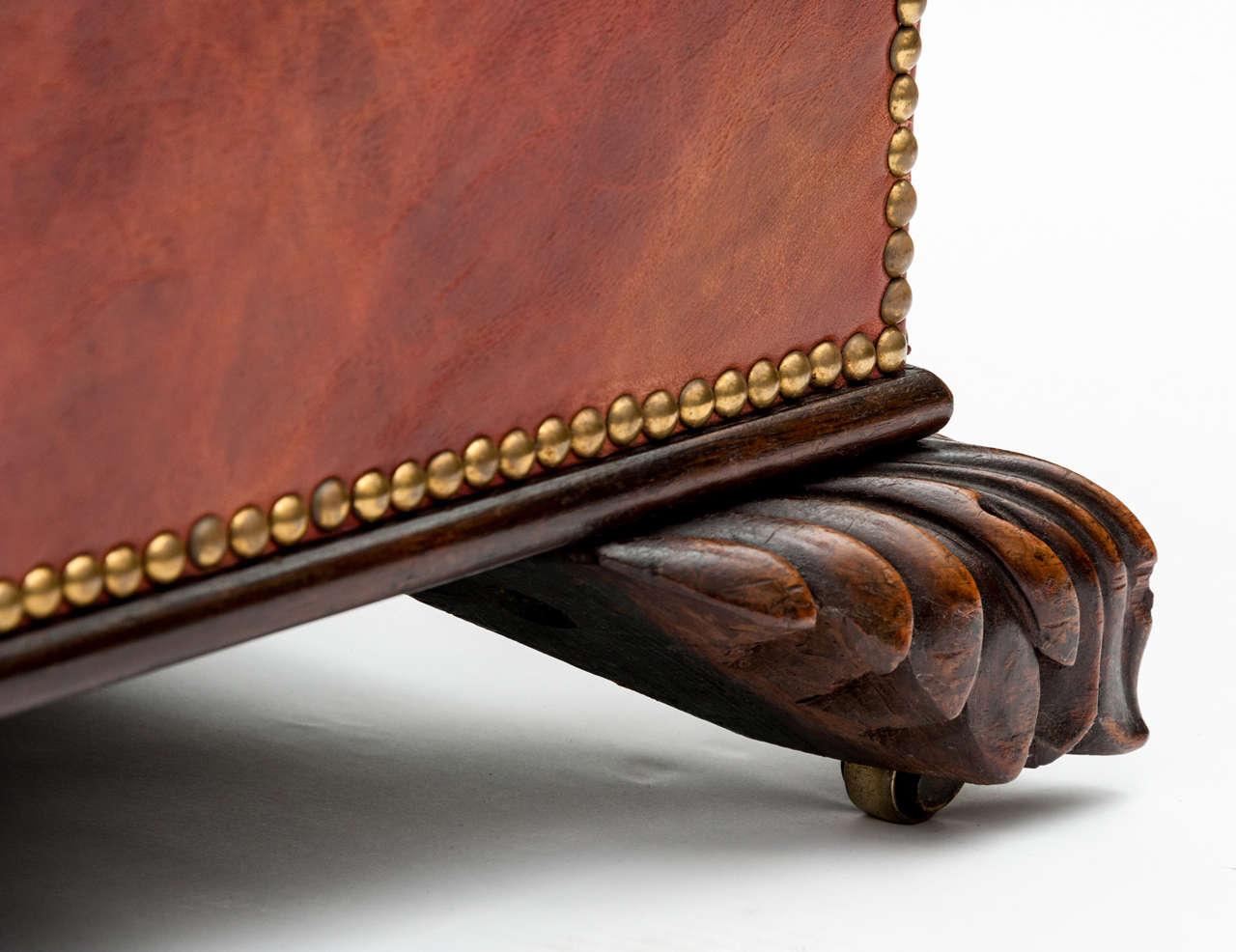 Ottomans Ornate Mahogany Ottoman: 19th Century Red Leather Mahogany Ottoman At 1stdibs