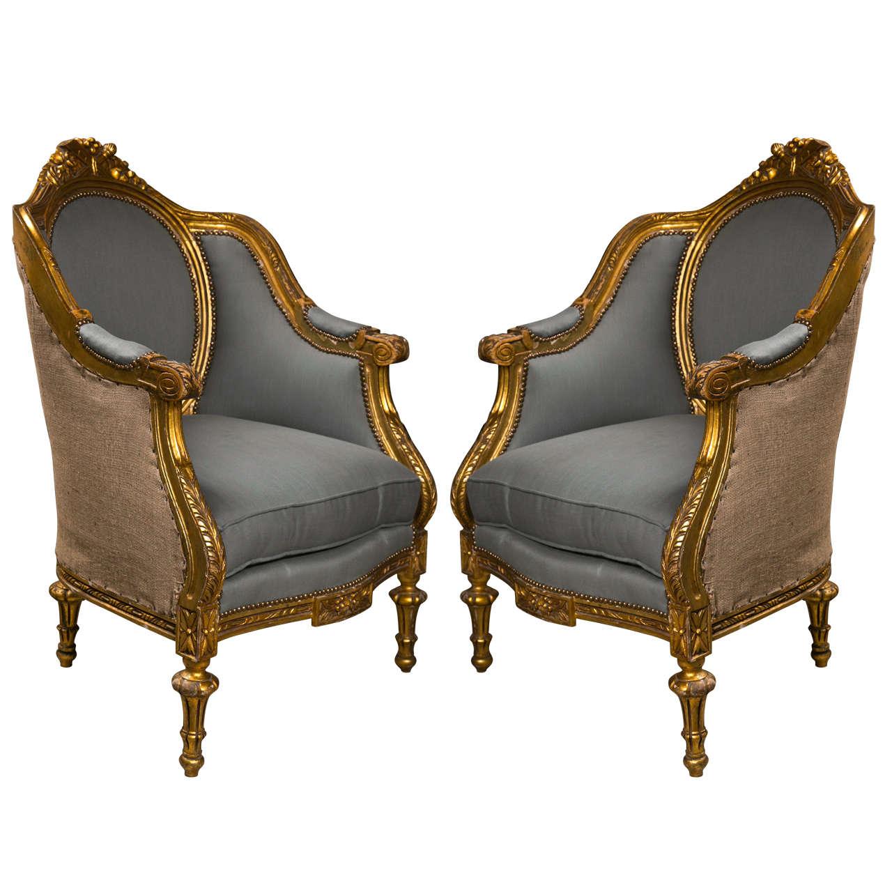 Pair Of French Louis Xvi Style Bergere Chairs At 1stdibs