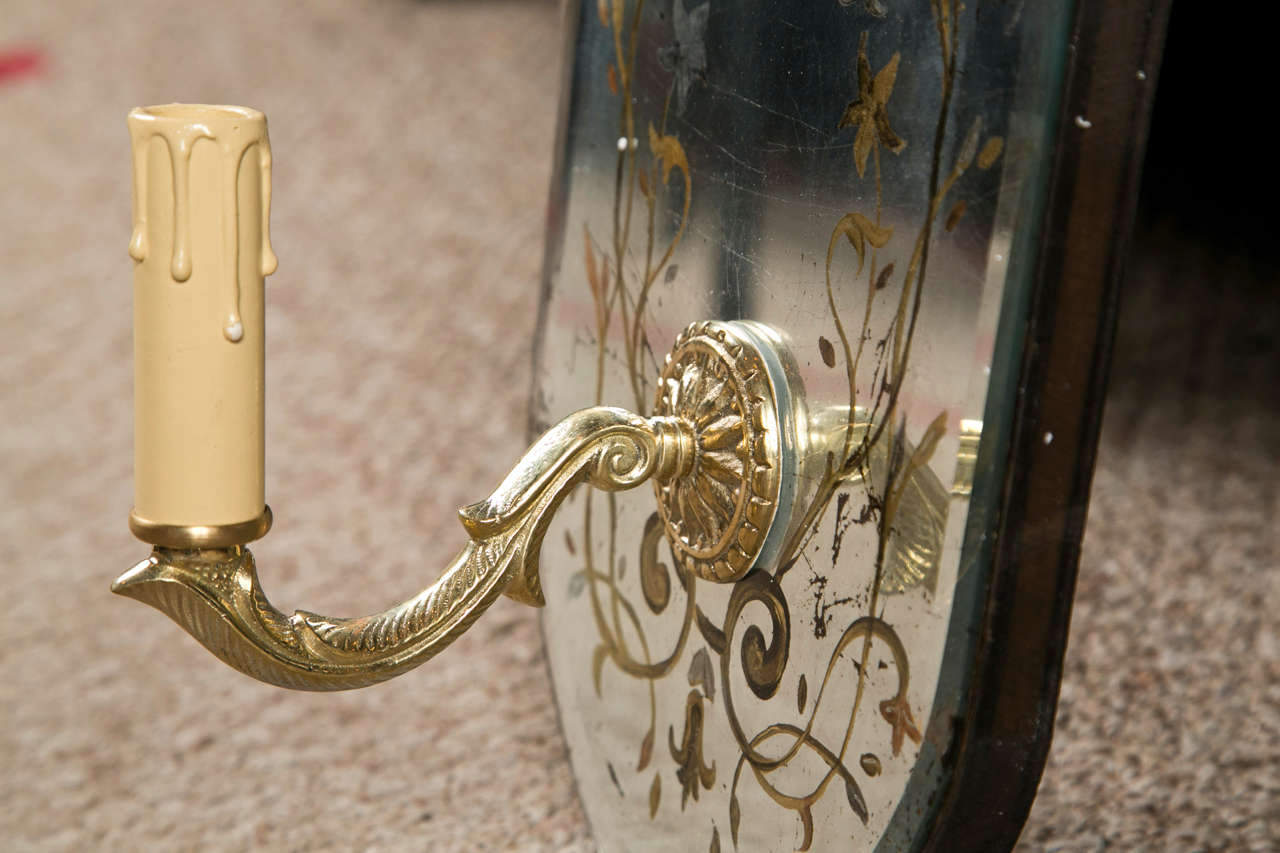 Pair Of Eglomise Glass Oval Wall Sconces At 1stdibs