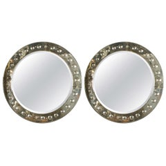 Pair Large Round Bulls Eye Etched With Distressed Panel Art Deco Beveled Mirrors