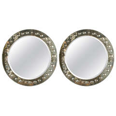 Pair of Round Bullseye Etched Mirrors