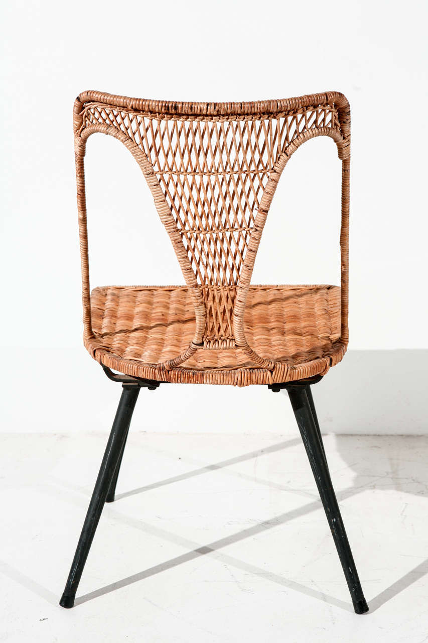 Wicker and iron table and set of six dining chairs at 1stdibs for Table for 6 brisbane