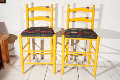 Ladder Back Counter Stools with Vintage African Fabric Seats image 2