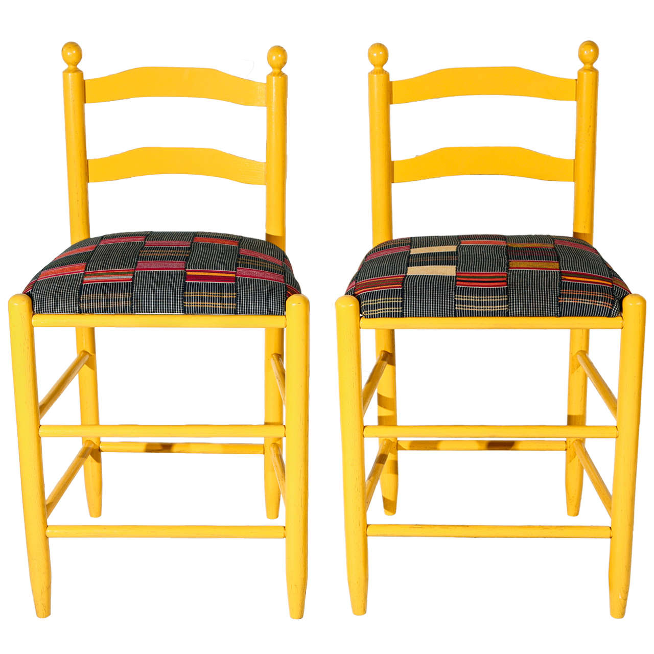 Ladder Back Counter Stools with Vintage African Fabric Seats For Sale