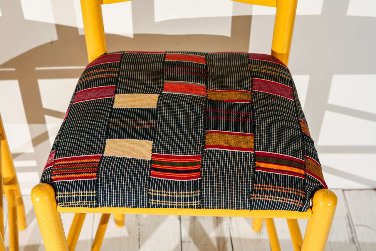 American Craftsman Ladder Back Counter Stools with Vintage African Fabric Seats For Sale