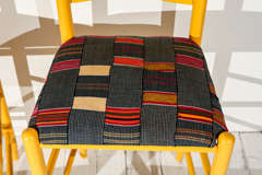 Ladder Back Counter Stools with Vintage African Fabric Seats image 3