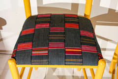 Ladder Back Counter Stools with Vintage African Fabric Seats image 4