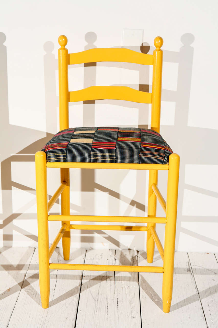 Ladder Back Counter Stools with Vintage African Fabric Seats In Excellent Condition For Sale In Los Angeles, CA