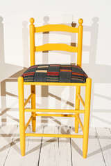 Ladder Back Counter Stools with Vintage African Fabric Seats image 5