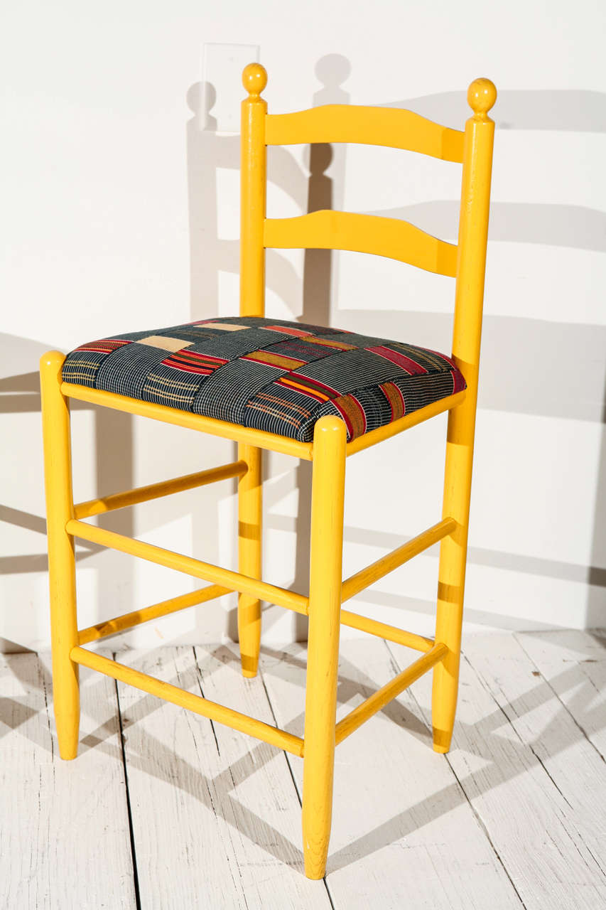 Mid-20th Century Ladder Back Counter Stools with Vintage African Fabric Seats For Sale