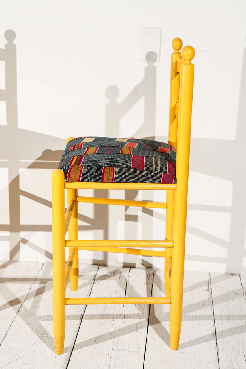 Ladder Back Counter Stools with Vintage African Fabric Seats For Sale 1