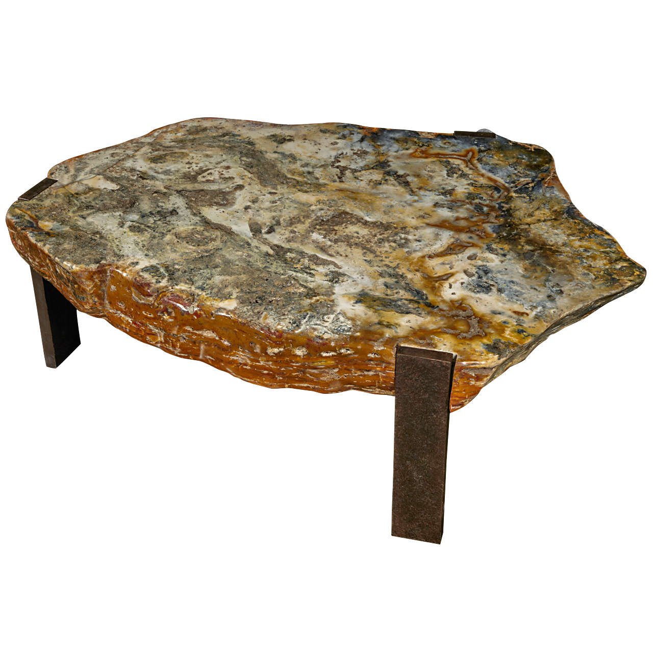 Ivory Stone Oval Coffee Table: Oval Coffee Table With Adged Agathe Stone Top At 1stdibs