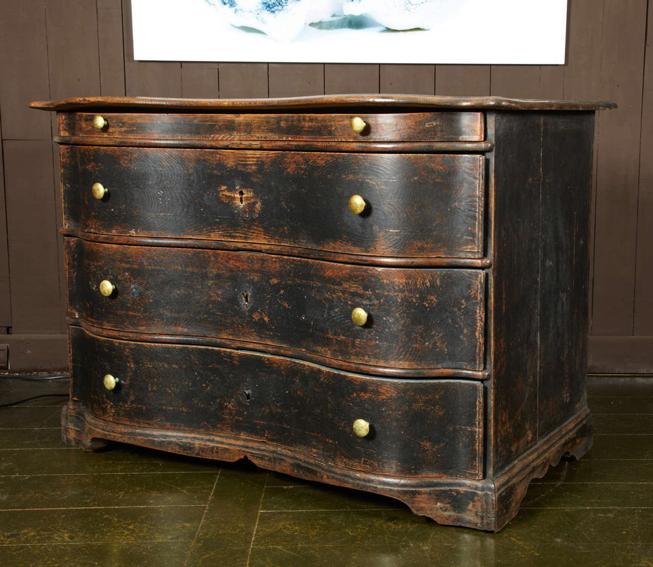 Double Curved Chest Of Drawers 19th Century Black Patina