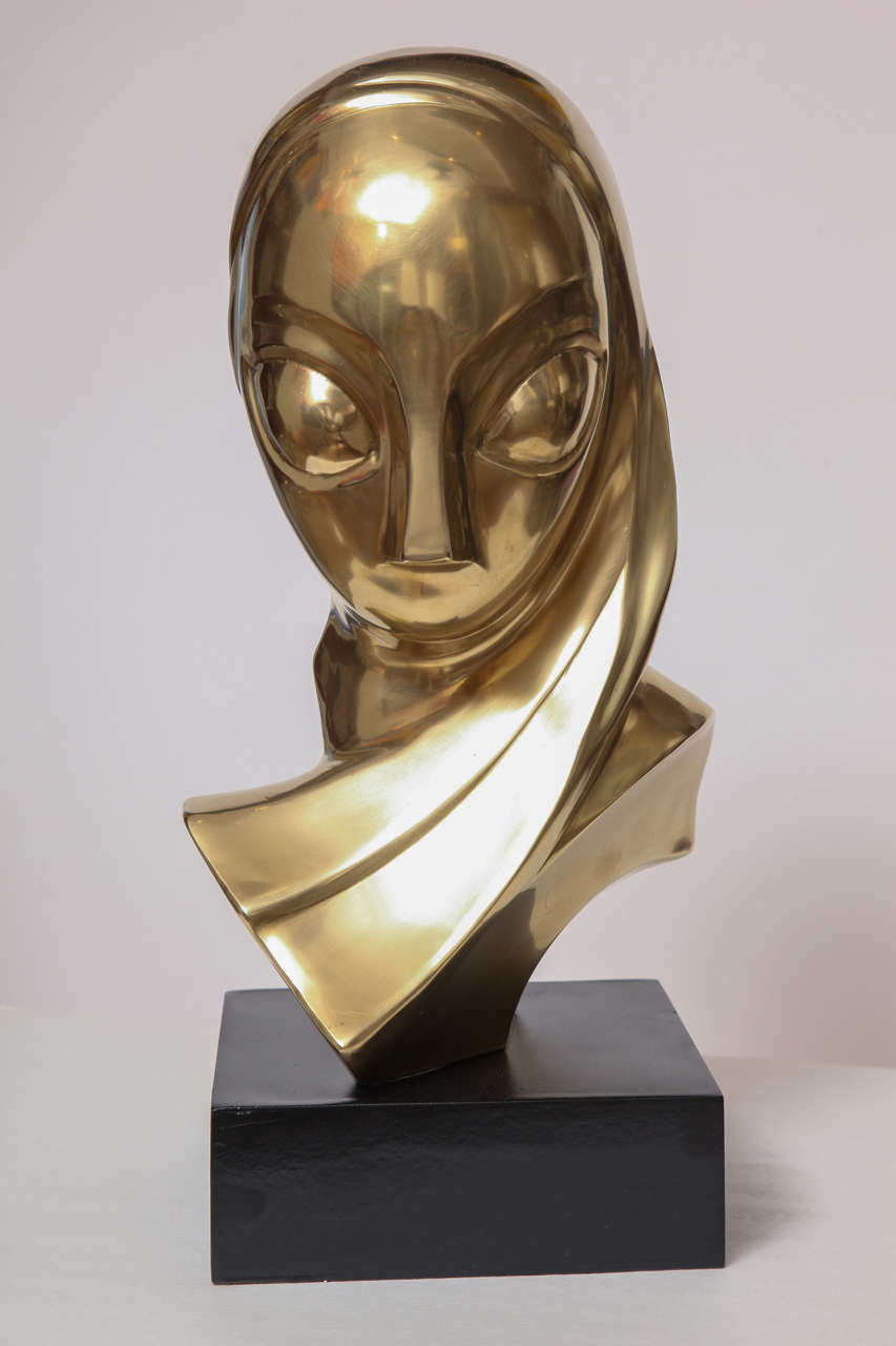 Sculpture, Brass, of a Woman's Head 2