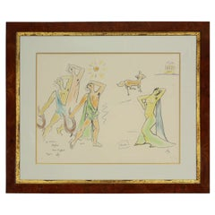 Custom Framed Orpheus Lithograph after Jean Cocteau