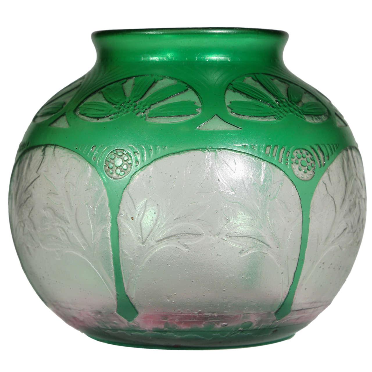 Art Deco Acid Etched Glass Vase by Daum