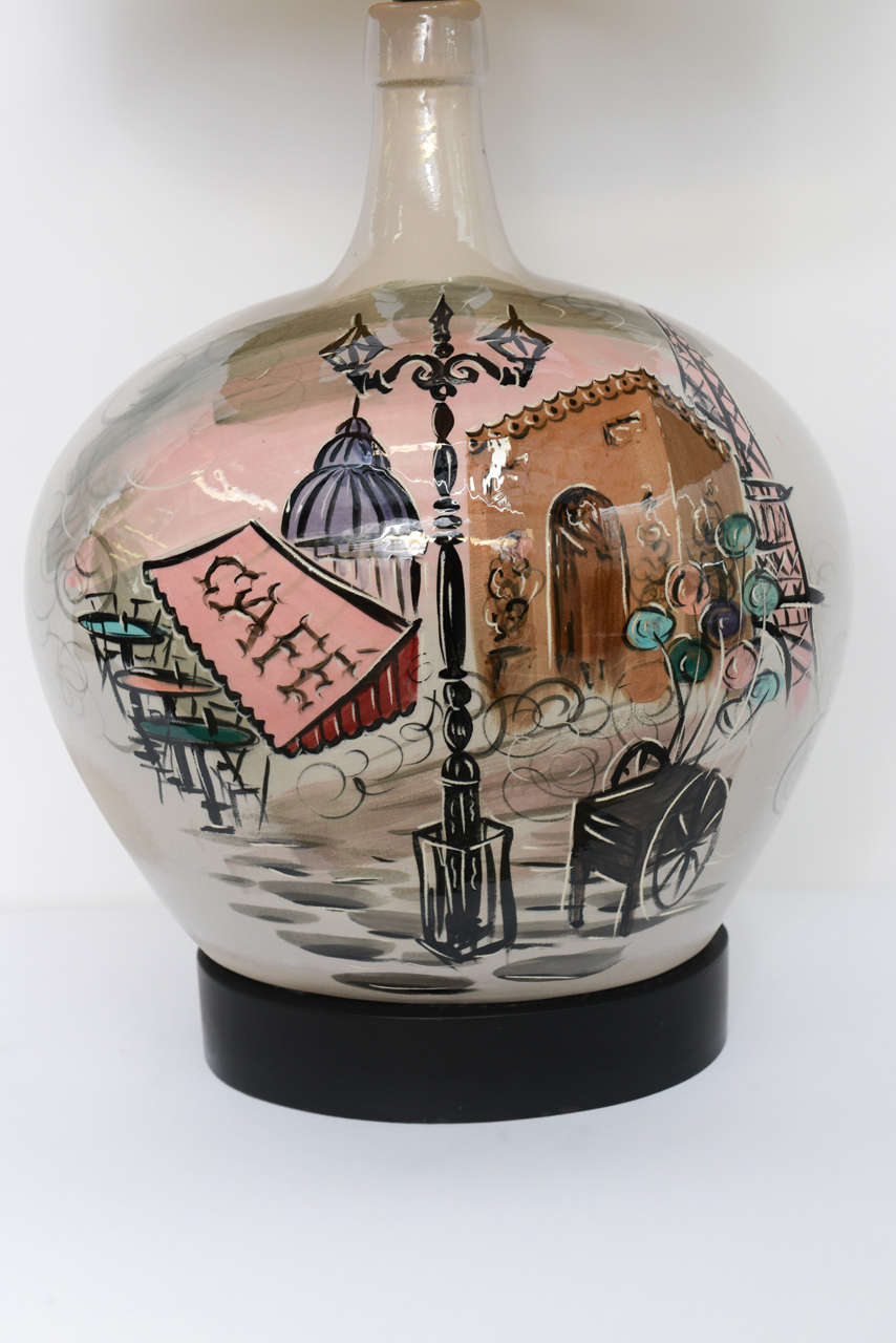 Mid-Century Modern Large Pottery Table Lamp with Painted Parisian Scene 1950s For Sale