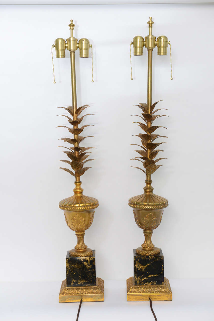 Metal Pair of 1950s Modern Neoclassical Style Gilt and Faux Marble Table Lamps For Sale