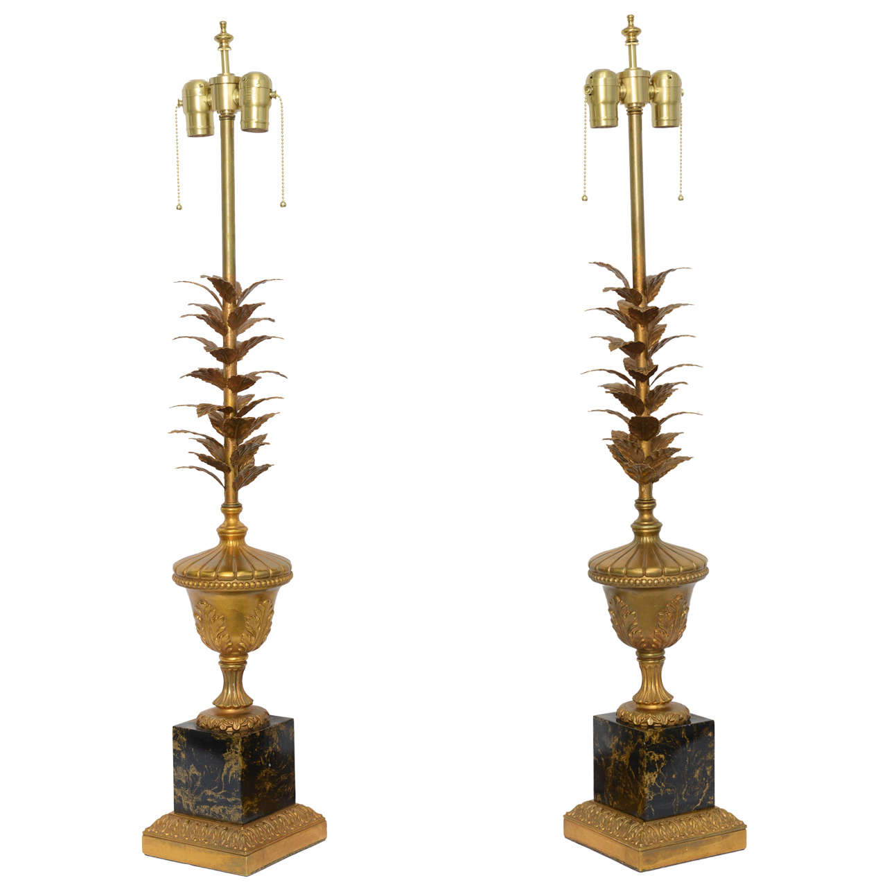 Pair of 1950s Modern Neoclassical Style Gilt and Faux Marble Table Lamps