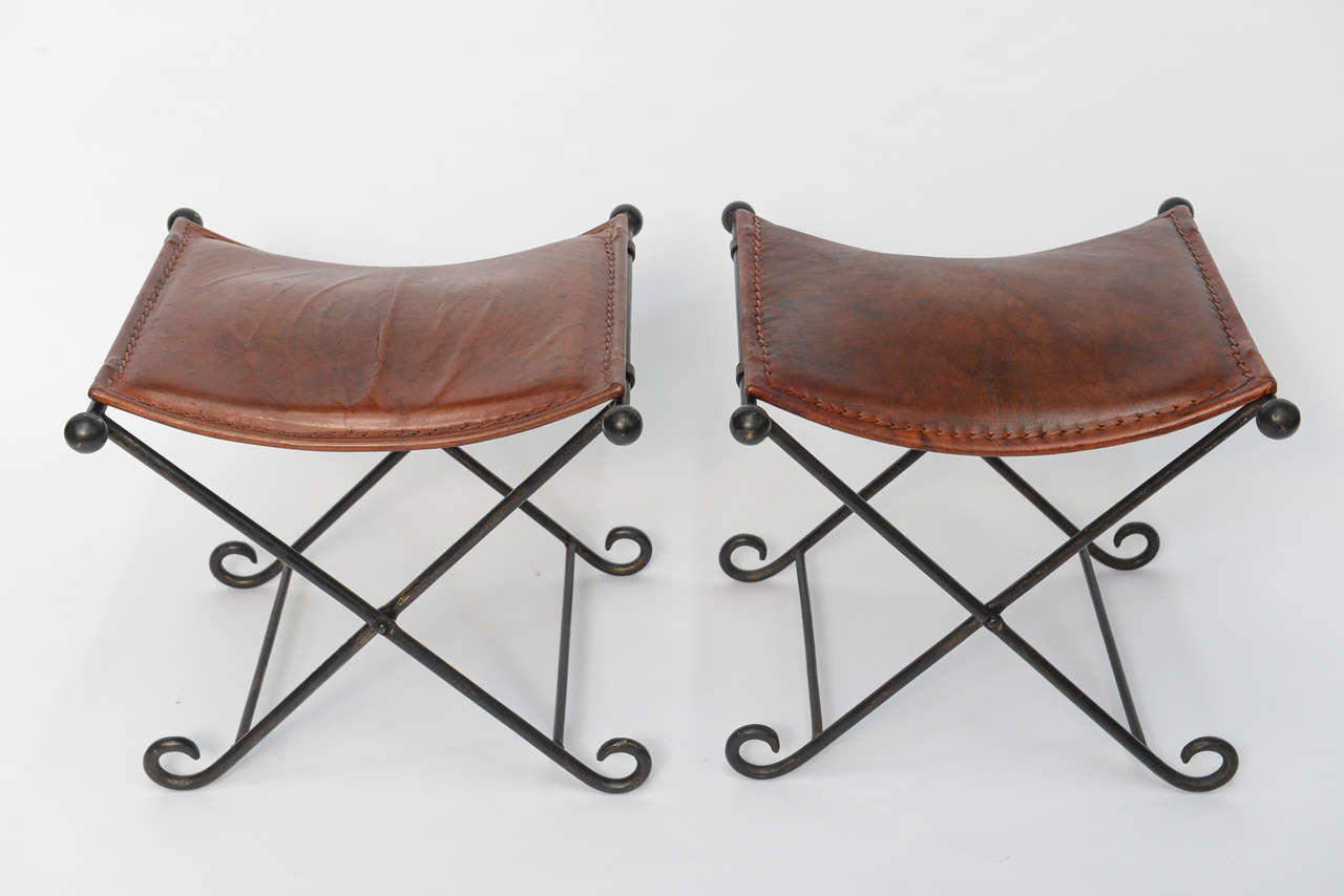 pair of s art deco leather seated iron x benches for sale at  - pair of s art deco leather seated iron x benches