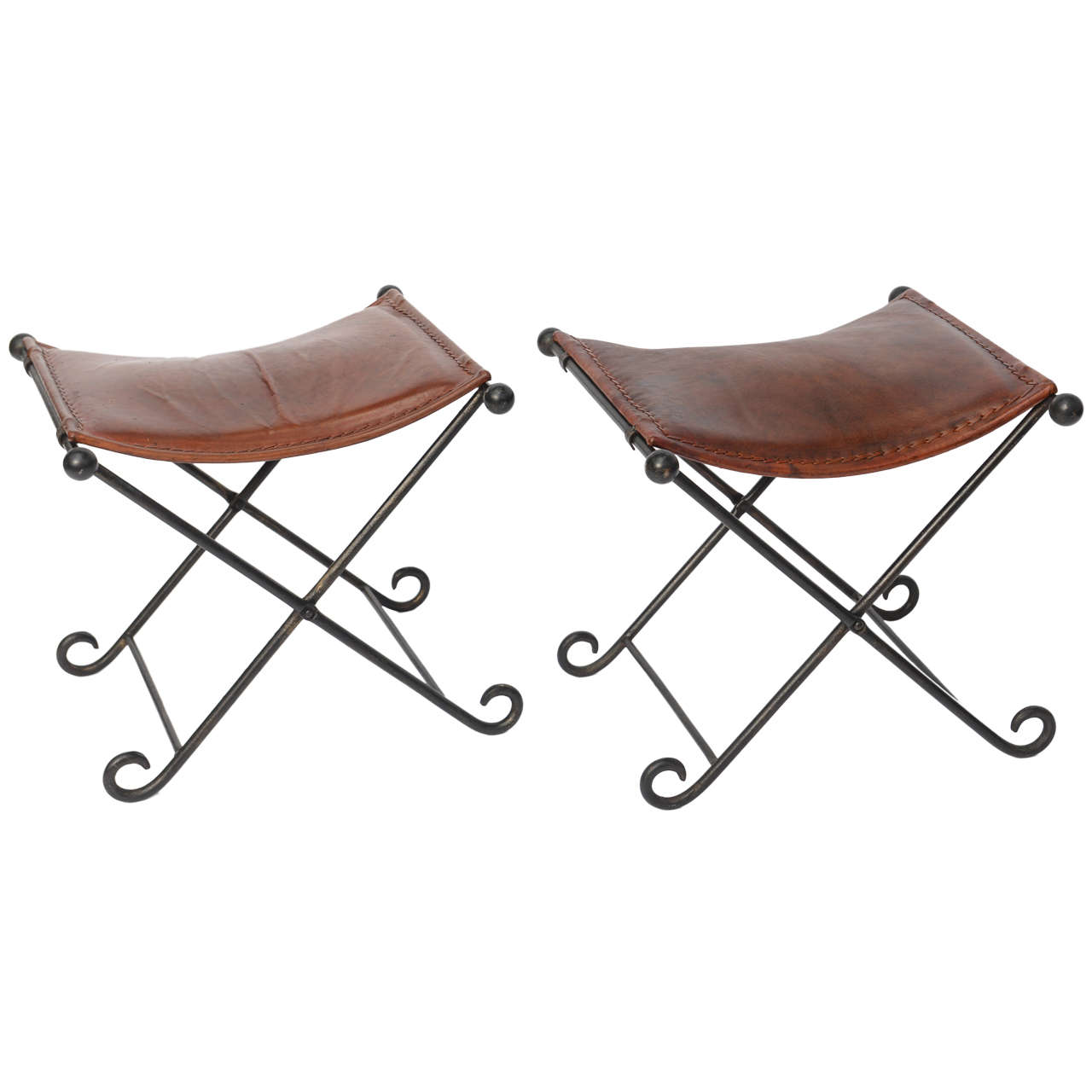 Pair of 1940s Art Deco Leather Seated Iron X-Benches