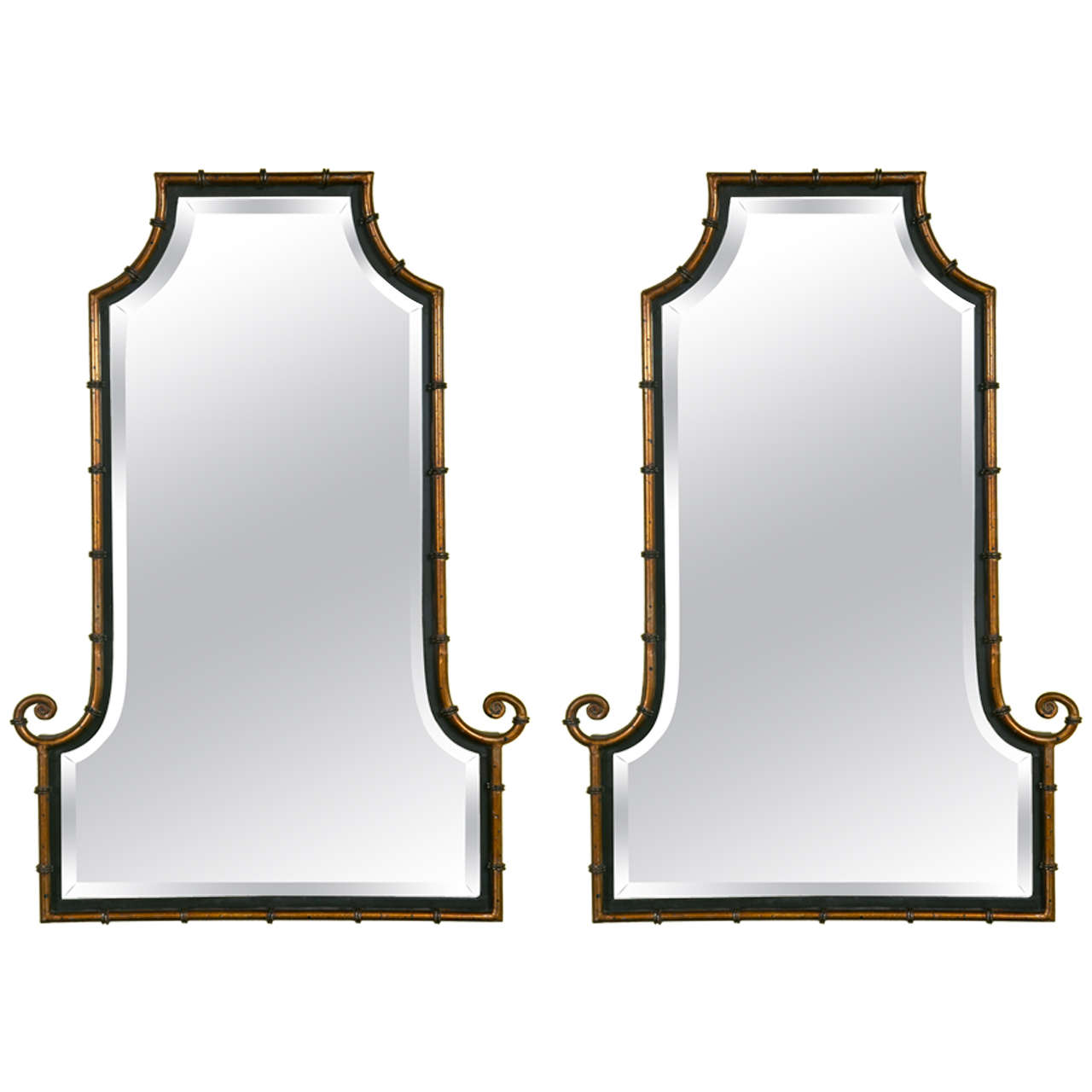 Pair of vintage faux bamboo style mirrors at 1stdibs for Vintage style mirrors