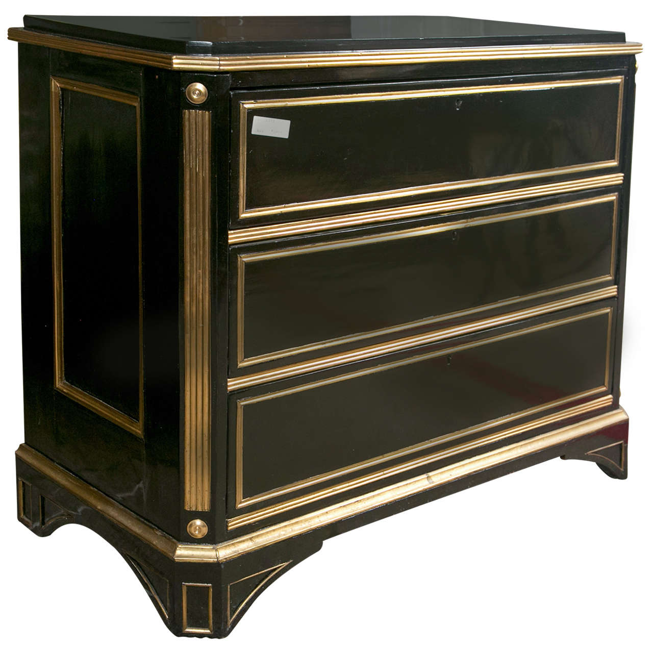 Russian Neoclassical Style Ebonized Commode / Chest of Drawers / Cabinet 19th C.
