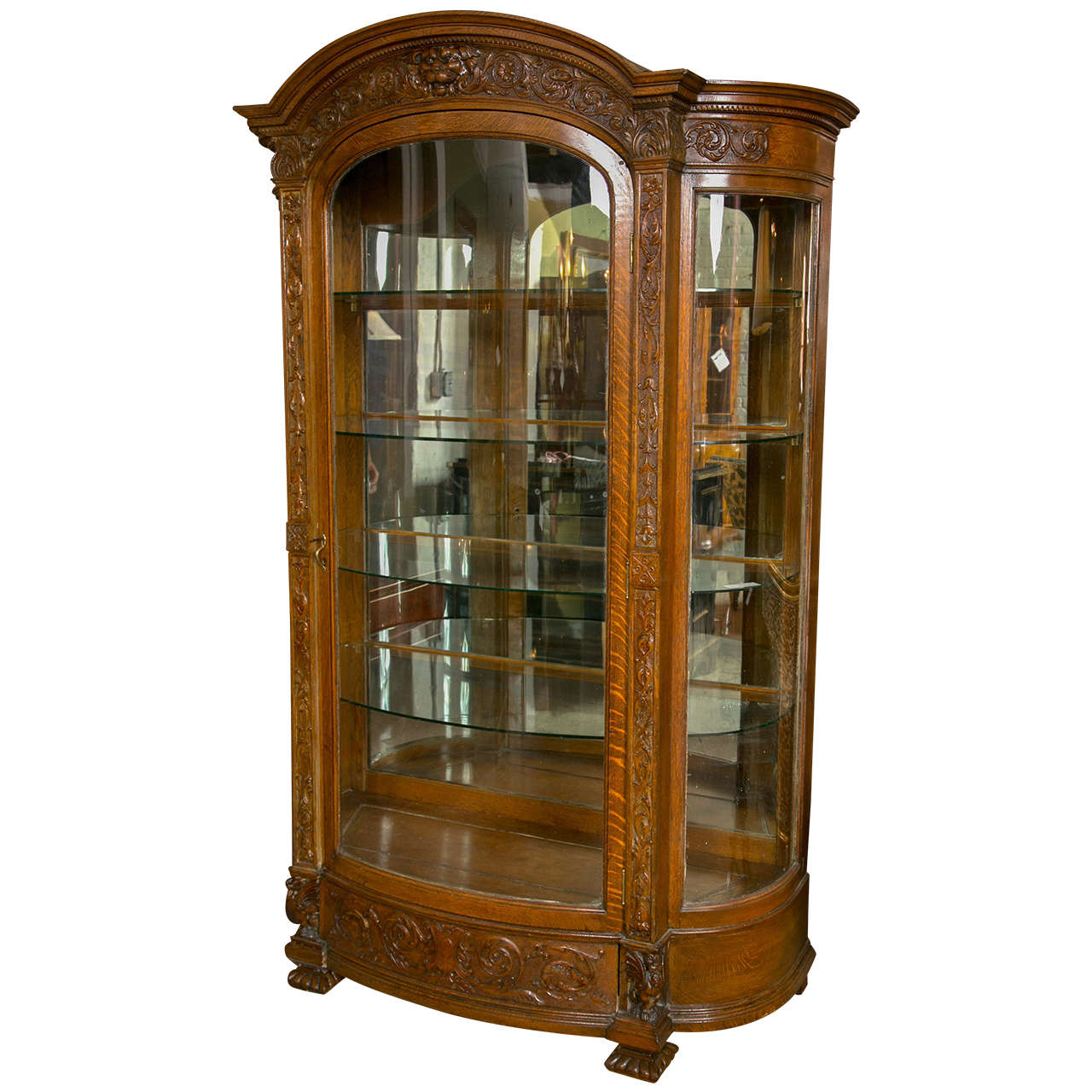 Horner Brothers Victorian Curved Gl China Cabinet For