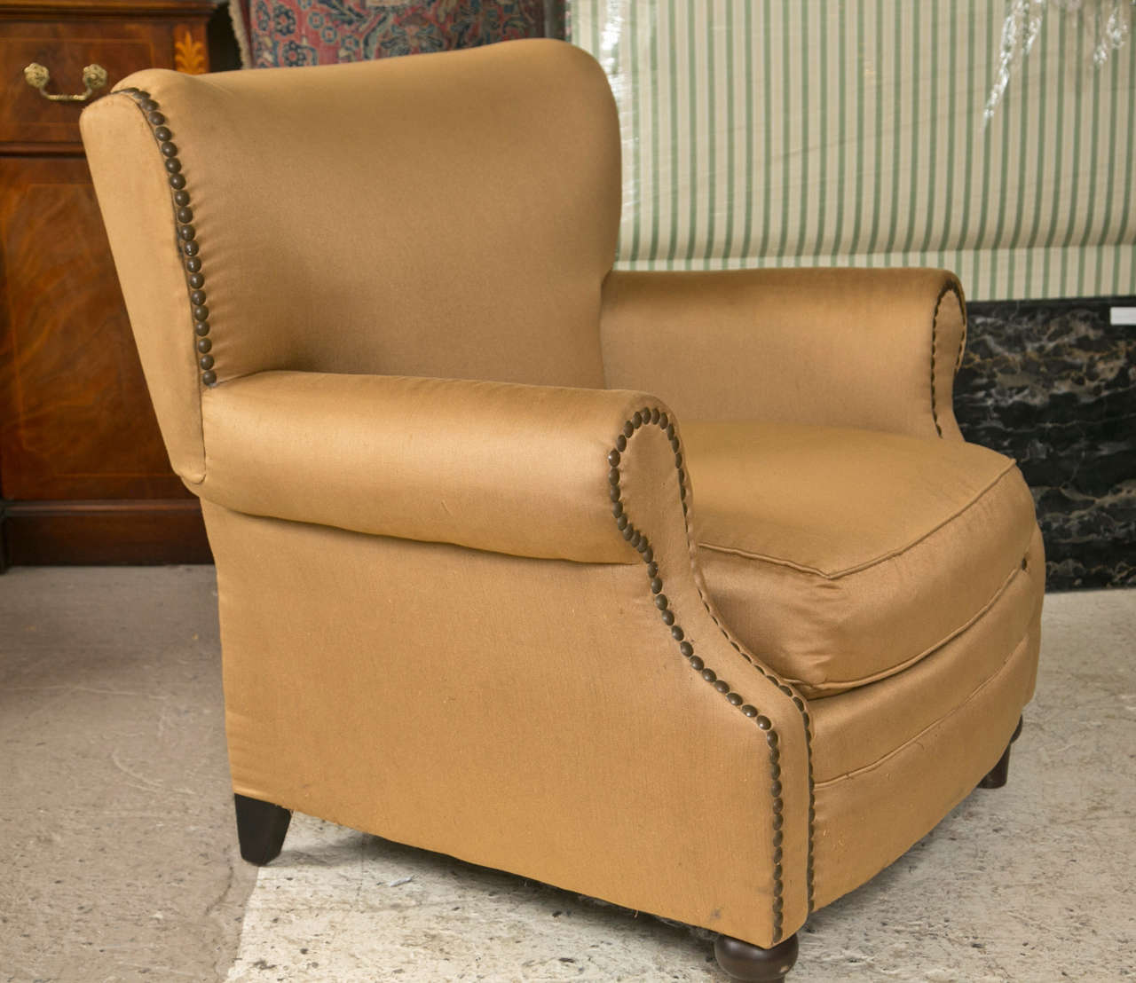 Pair Of Overstuffed Oversized Arm Lounge Chairs In Good Condition For Sale  In Stamford, CT