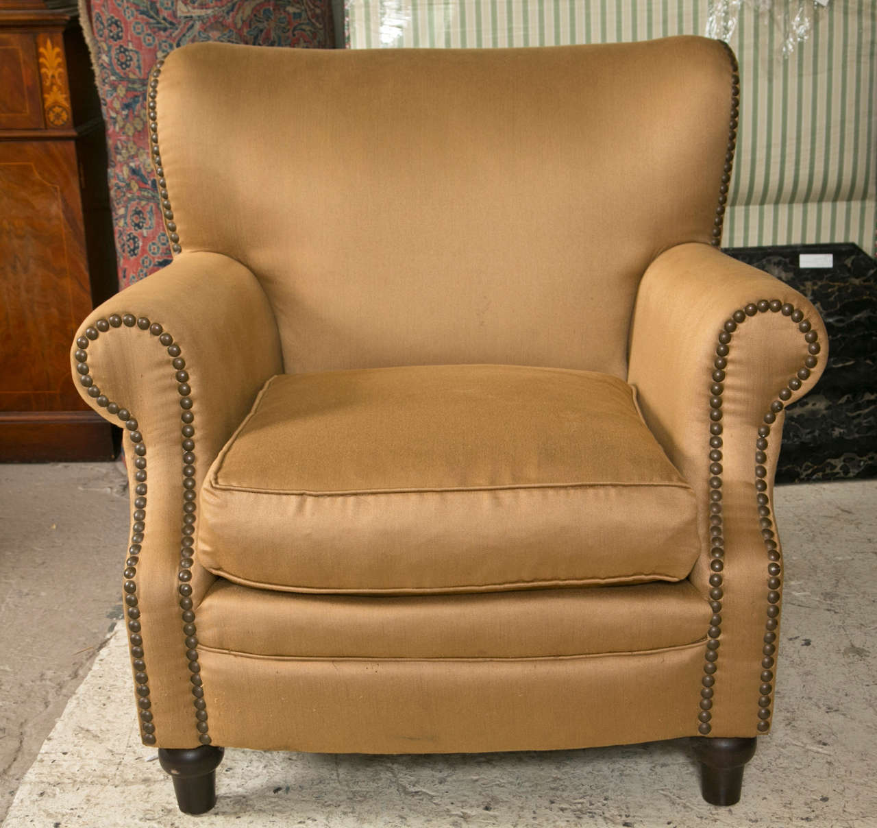 Pair of overstuffed oversized arm lounge chairs at 1stdibs for Overstuffed armchair