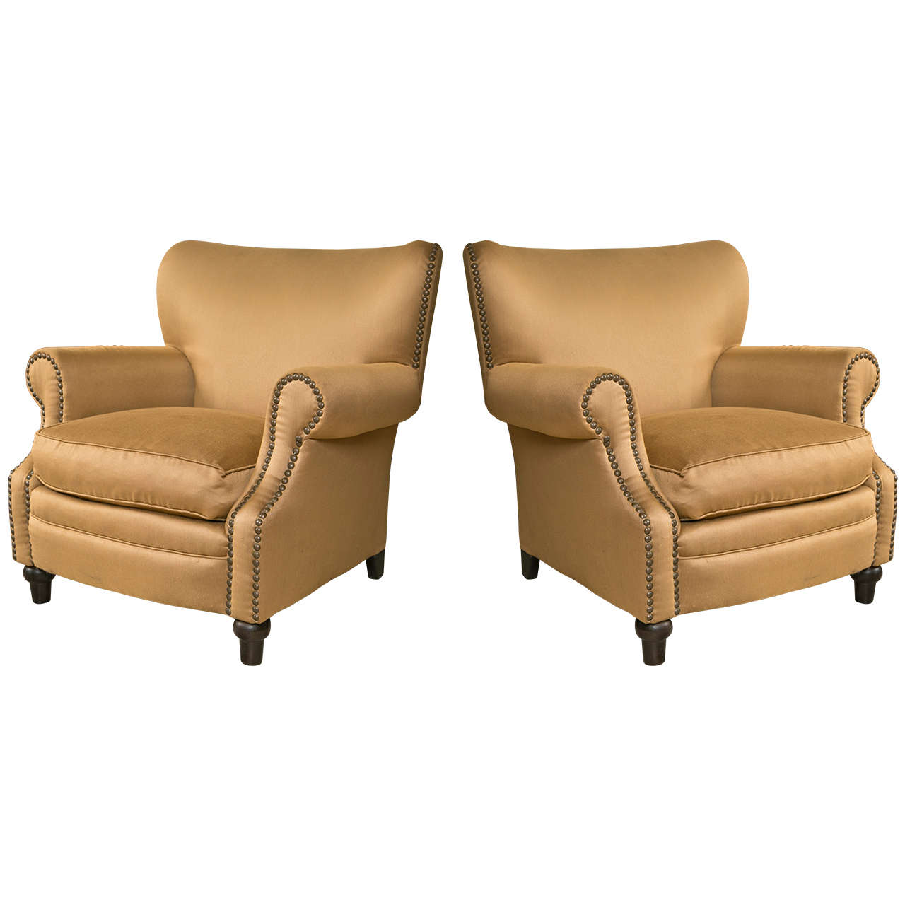 Pair Of Overstuffed Oversized Arm Lounge Chairs At 1stdibs