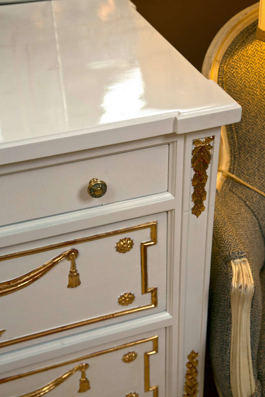 white and gilded double commode attributed to maison. Black Bedroom Furniture Sets. Home Design Ideas