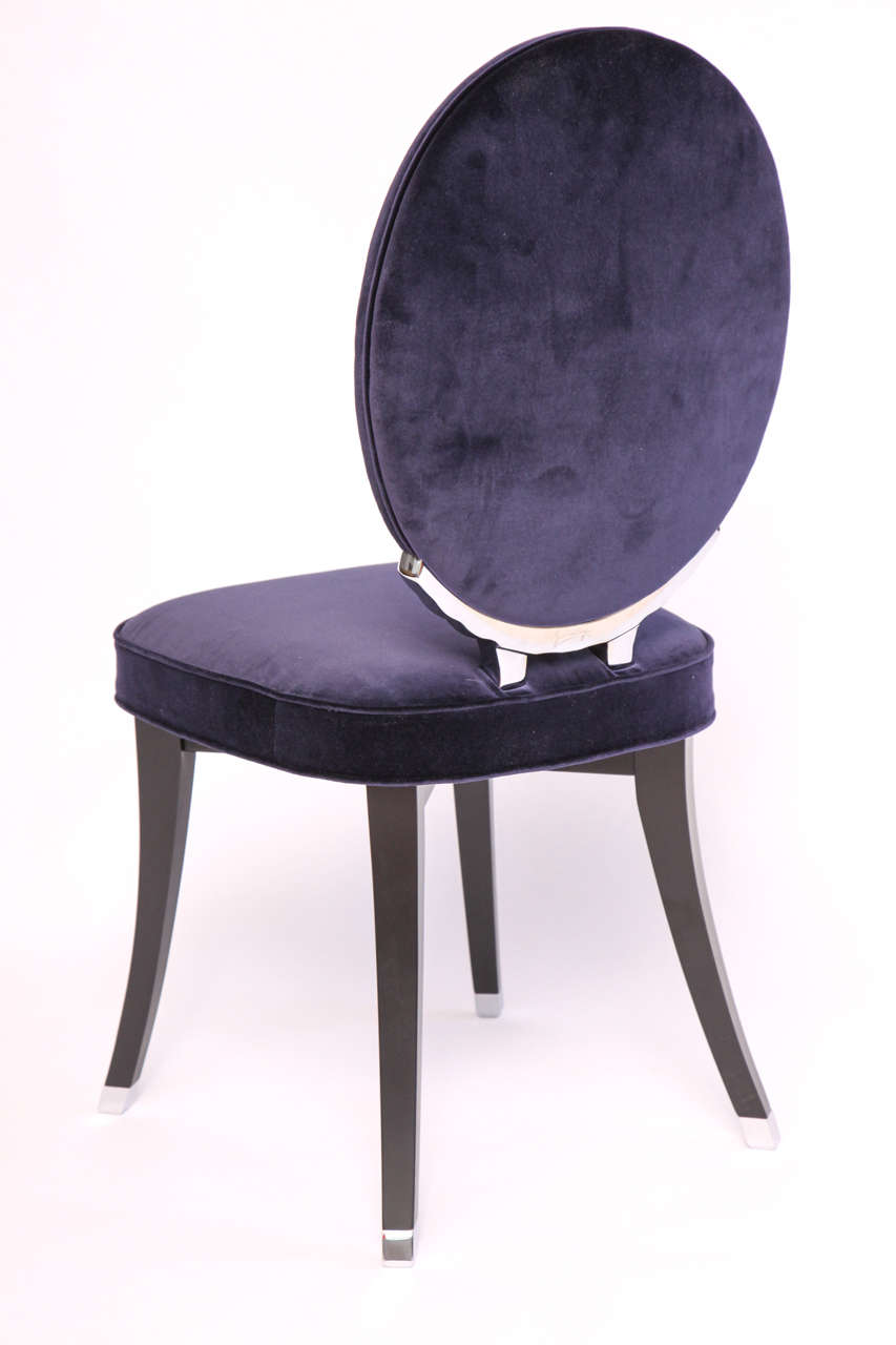 Sapphire Velvet Oval Back Side Chair Designed by Jean