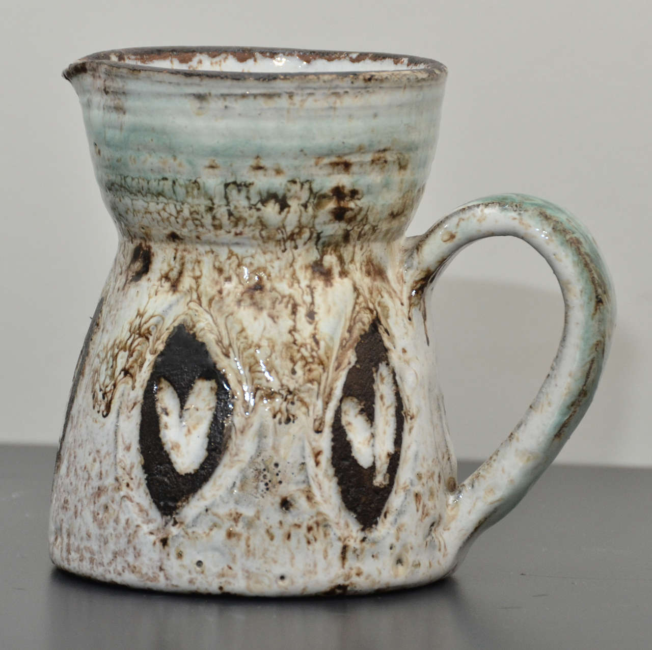 Small Brown, White and Turquoise Pitcher by Accolay 2