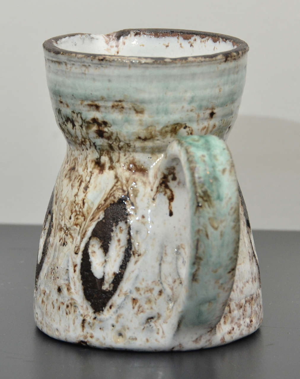 Small Brown, White and Turquoise Pitcher by Accolay 3
