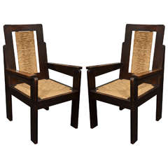 Pair of Wooden Armchairs with Rush Seats by Sornay