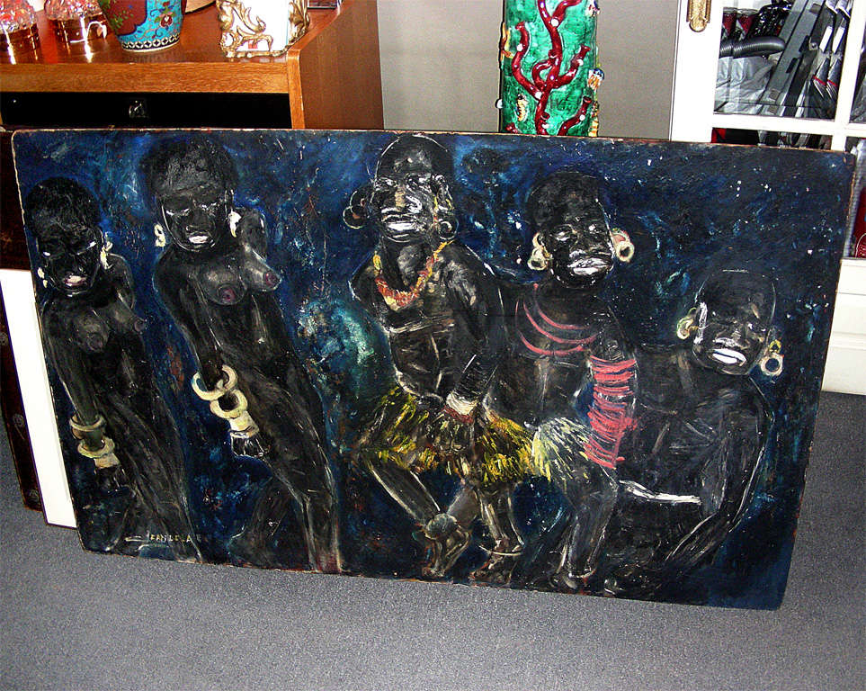 1950s painting signed by Claude Candela in oil on isorel (a material made of compressed wood or cardboard). Not framed.