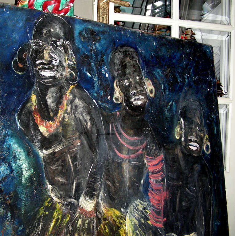 1950s Painting Signed by Claude Candela For Sale 2