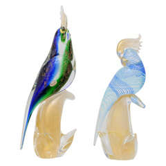 Set of Two Mid-Century Modern Murano-Glass Exotic Birds (Cockatoo and Parrot)