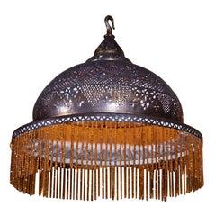 Pierced Brass Moorish Chandelier