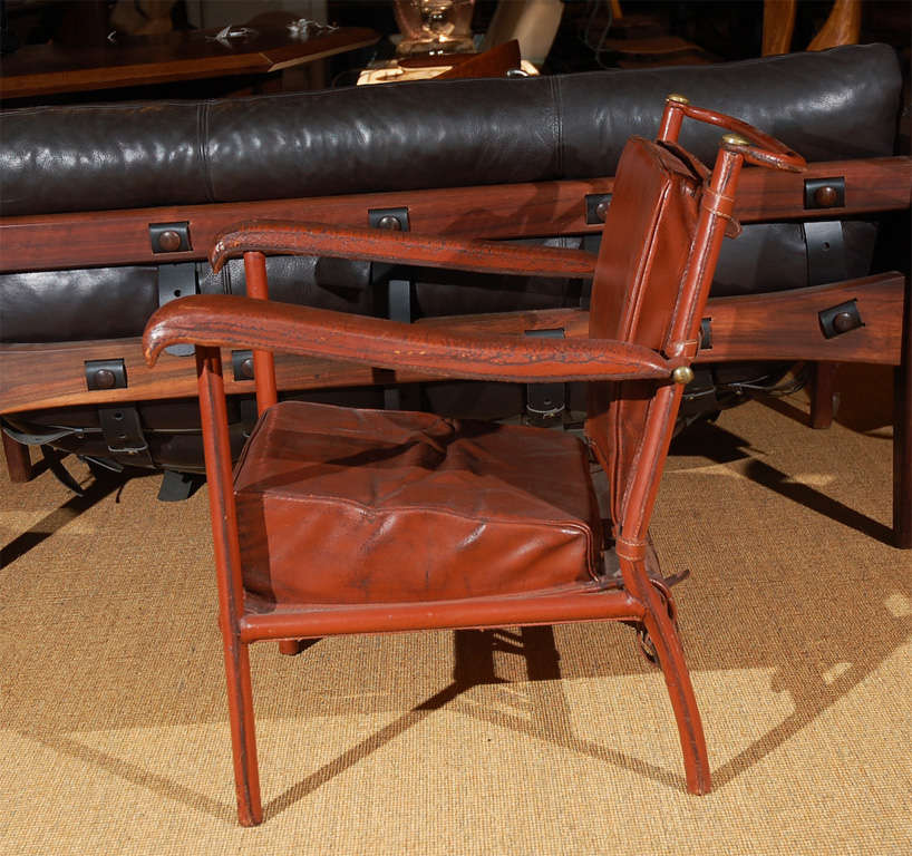 Brass Jacques Adnet Lounge Chair For Sale