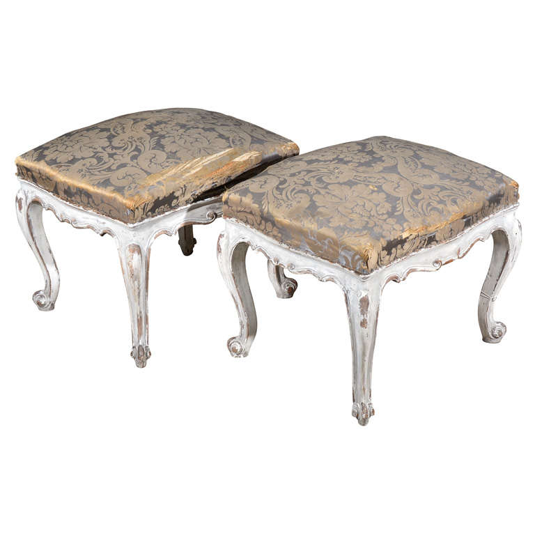 Pair Painted European Upholstered Stools At 1stdibs