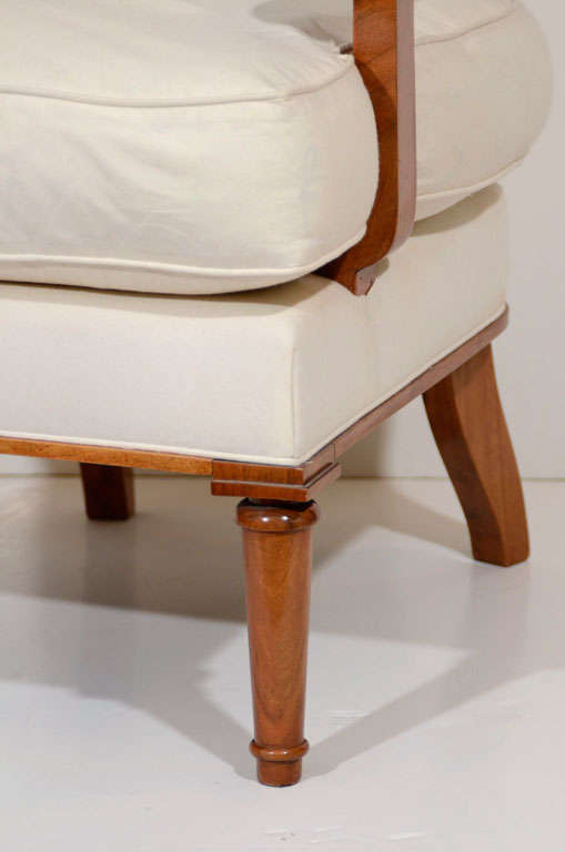 French Jules Leleu, Walnut Armchair, France, C. 1948 For Sale