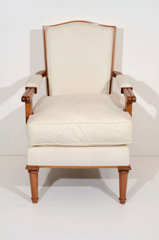 Jules Leleu, Walnut Armchair, France, C. 1948 In Good Condition For Sale In New York, NY