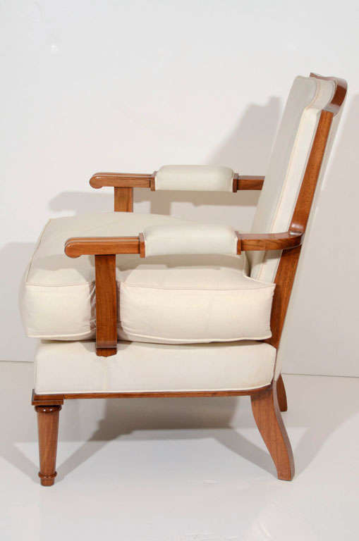 Jules Leleu, Walnut Armchair, France, C. 1948 For Sale 1