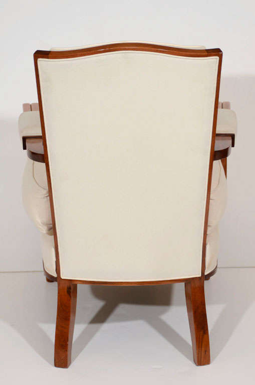 Jules Leleu, Walnut Armchair, France, C. 1948 For Sale 2