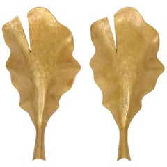 Marc Bankowsky, New Leaf, Pair of Bronze Sconce, France, 2007