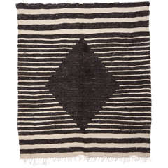 Vintage Anatolian Minimalist Angora Wool Flat-Weave Rug, 1930's