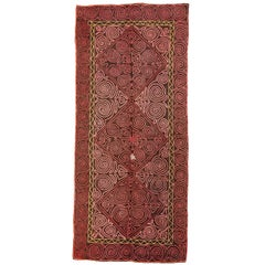 Vintage Embroidered Central Asian Felt Rug